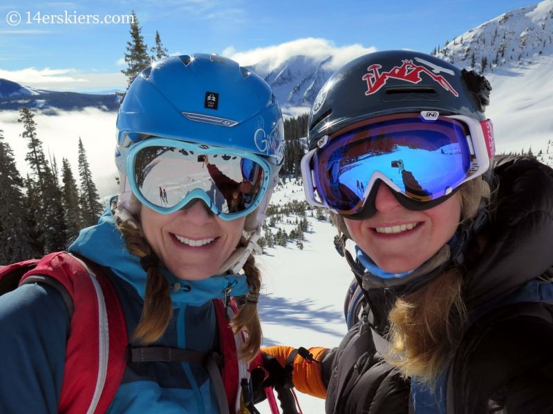 Brittany Walker Konsella & Alex Riedman backcountry skiing in Crested Butte.