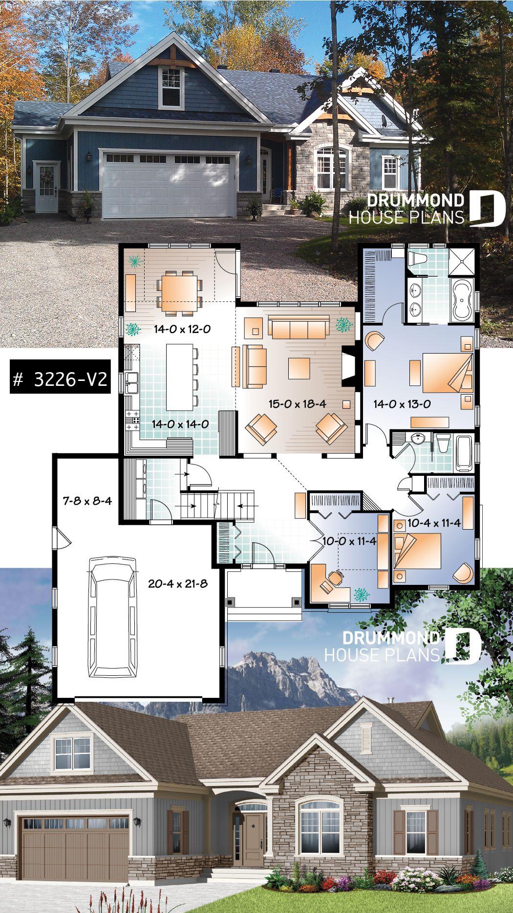 U Shape Ranch House Plan 2 Car Garage Master Suite Large