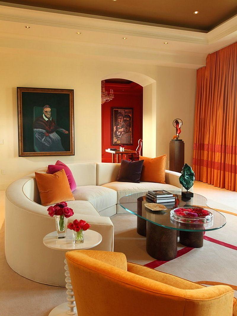 Model Desain Sofa Ruang Tamu Minimalis Unik Kecil Terbaru Ruang - Orange living room design