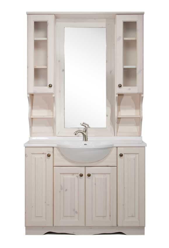 Arredo bagno rustico in legno di pino massello di svezia proposto in finitura bianca completo - Bagno rustico in legno ...
