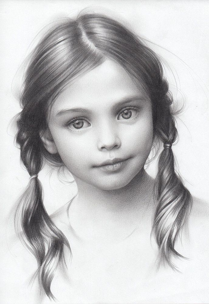 magnifique dessin r trogirl portrait enfant. Black Bedroom Furniture Sets. Home Design Ideas