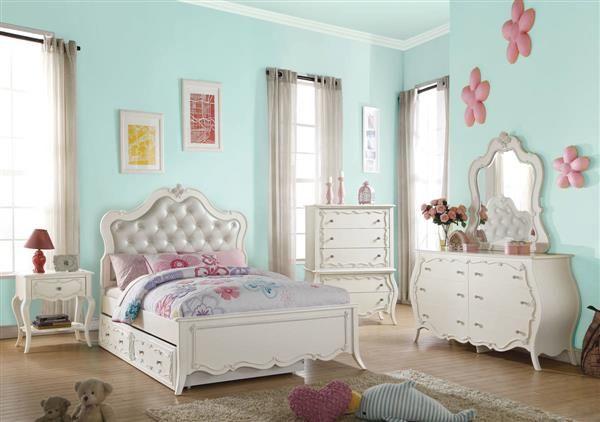 Edalene Pearl White Pine Wood Kids Bedroom Set