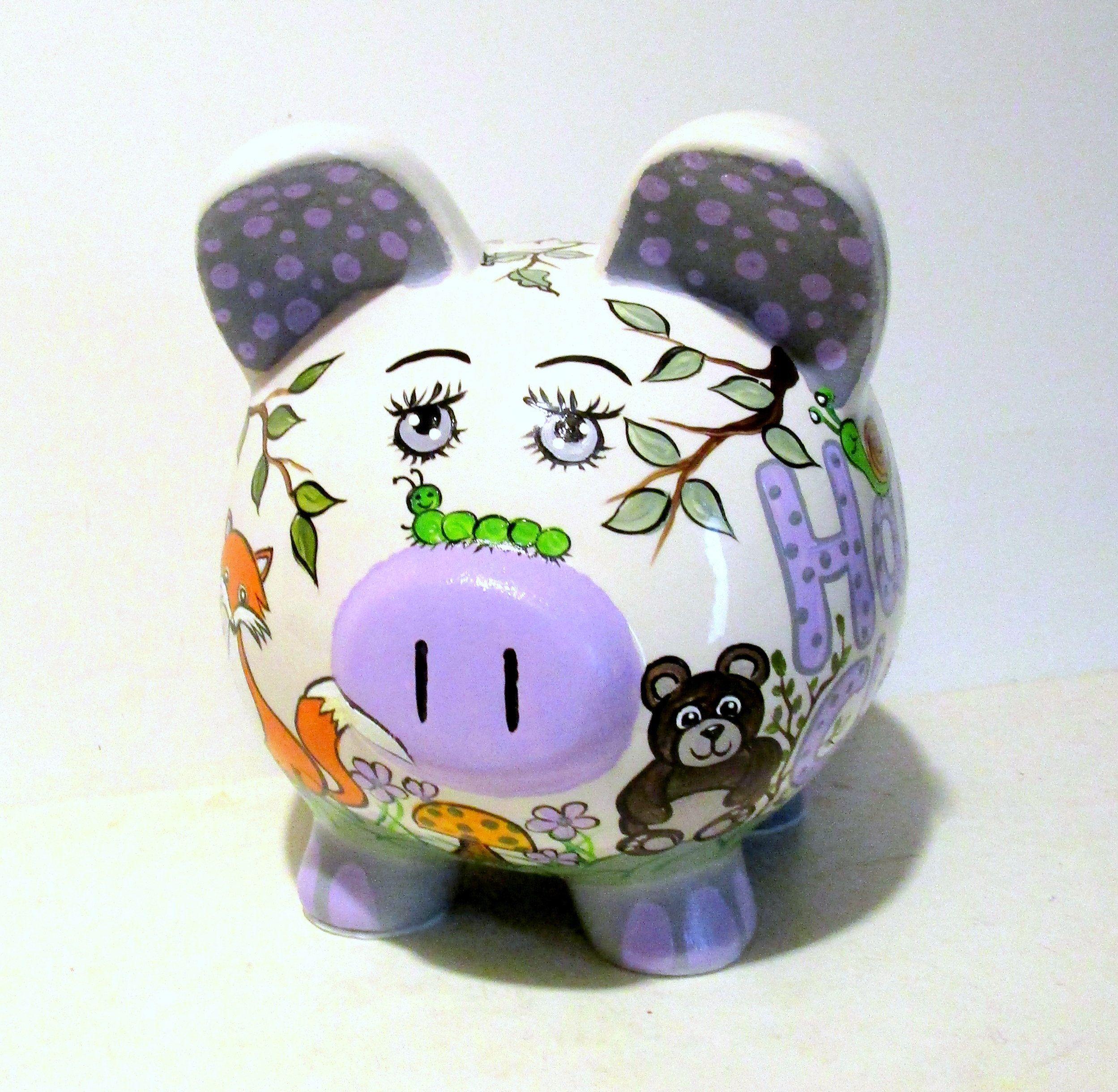 Ceramic Large Piggy Bank Hand Painted