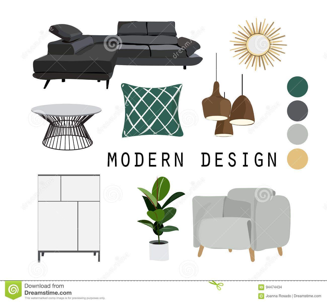 Interior Design Mid Century Modern Furniture Vector Elements Set