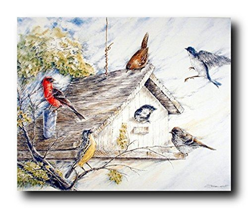 16x20 Birds At Birdhouse Wild Animal Nature Fine Art Wall Decor Print Poster