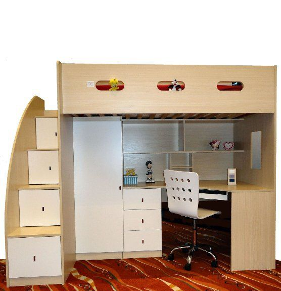 Twilight Single Combo Loft Bed Bunk Bed With Desk Bed With Desk Underneath Bunk Beds With Stairs