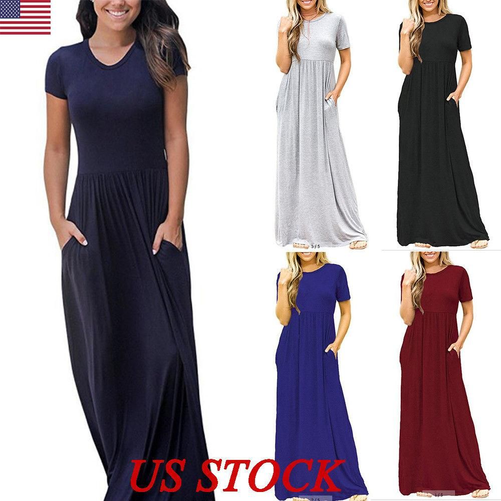 Womens oversize summer loose short sleeve soild casual long maxi