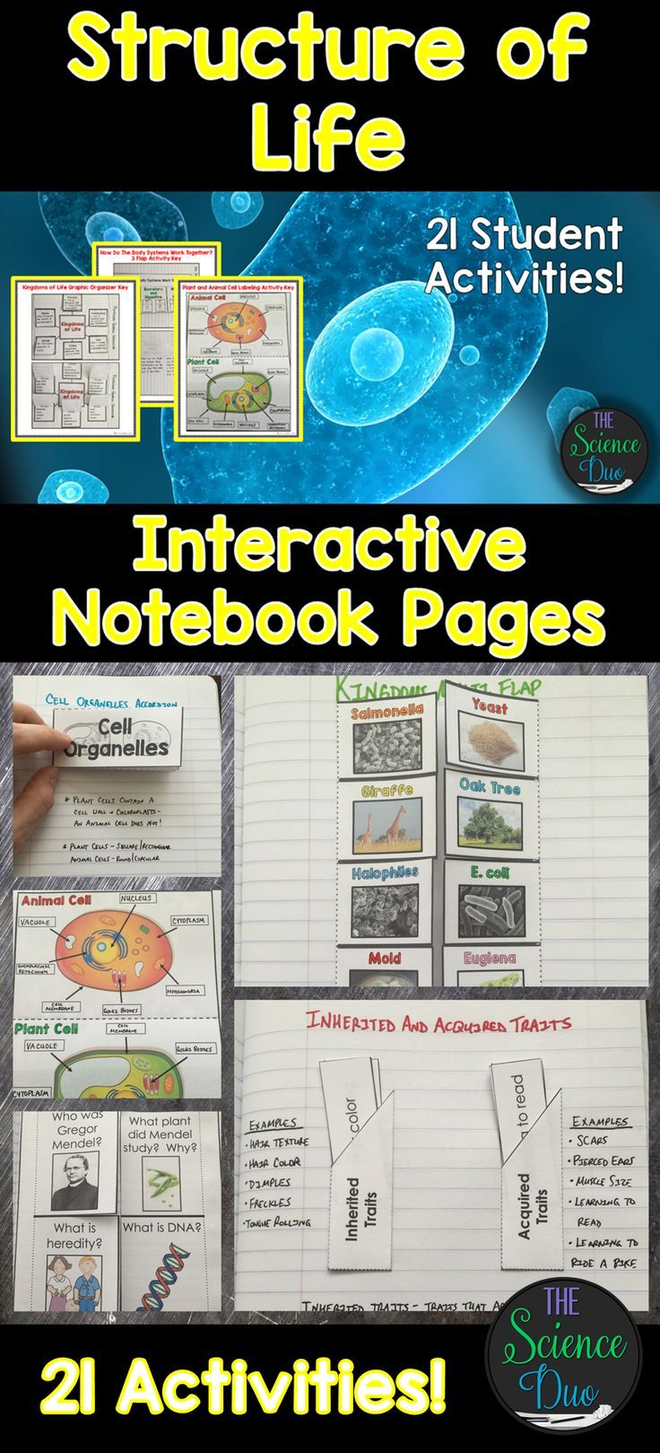 This Resource Contains 21 Different Interactive Notebook Activities Covering Cells Body Systems Characteristics Of Organisms Kingdoms Of Life