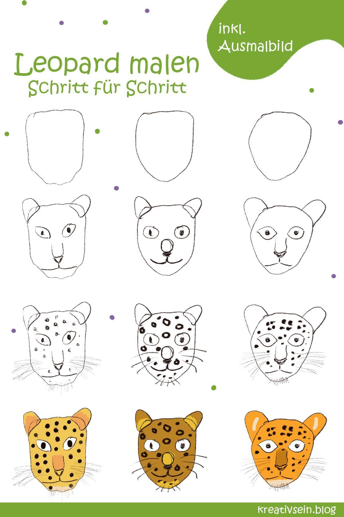Leopard Malen Fur Opa Weil Opa Doch Der Leopard Ist Kreativsein Blog Der Leopard Malen Mit Kindern Katze Malen