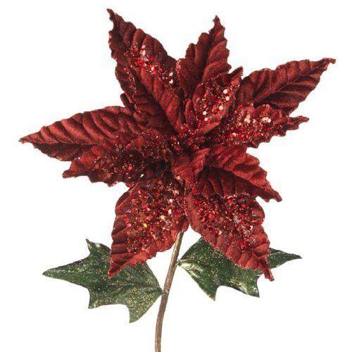 Large Selection Of Raz Imports Decorations Ornaments And: Glittered Burgundy Velvet Poinsettia Stem 26