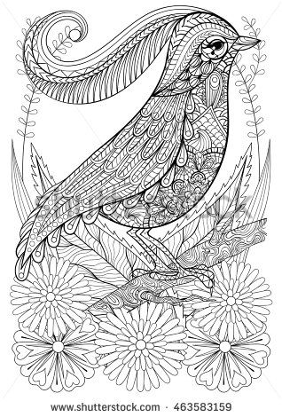 Zentangle Stylized Bird With Flowers Hand Drawn Ethnic Animal For Adult Coloring Pages Art Therapy Boho T Shirt Patterned Print Posters
