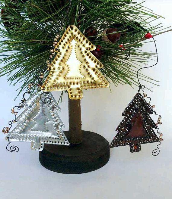 O Tannenbaum - 3 Tin Punch Christmas Tree Ornaments, aluminum ...