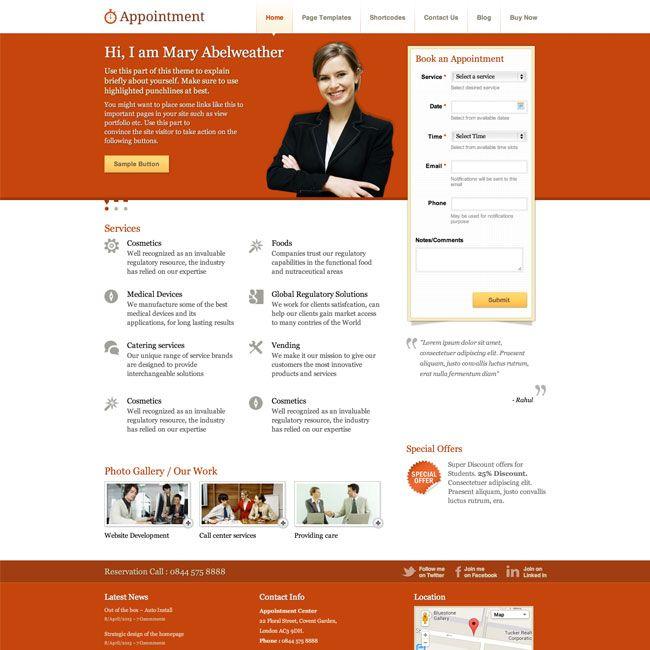 Appointment Responsive Business WordPress Theme | Best WordPress ...