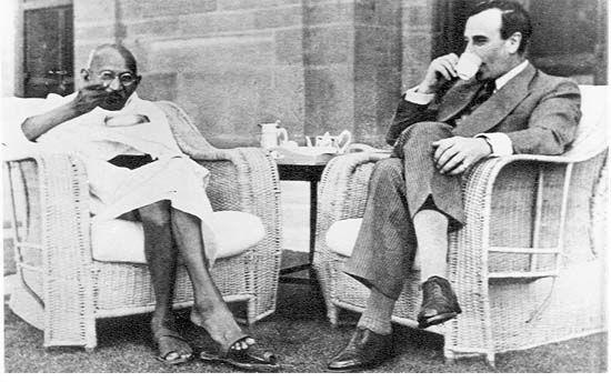 Image result for gandhi having tea with king george
