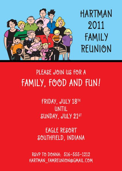 Party411   Family Reunion Invitations And Party Favors  Family Reunion Invitation Cards