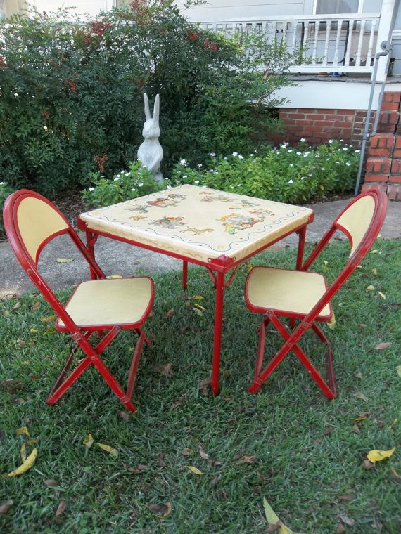 Vintage Childrens Furniture Card Table Chairs Circus By Misshettie, $145.00  Kids Table And Chairs,