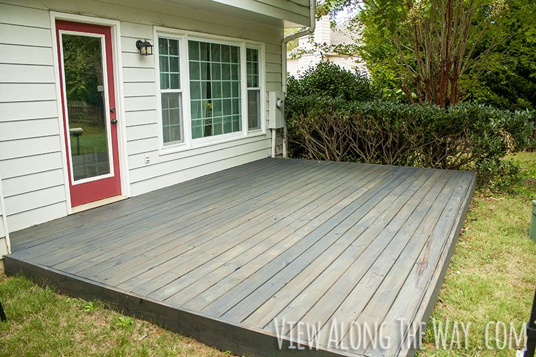deck patio cement patio backyard diy deck concrete slab stained decks
