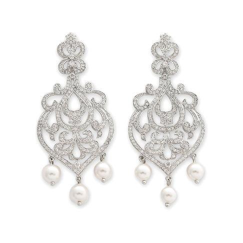 Elise Pearl Chandelier Bridal Earrings | Pearl chandelier, Bridal ...