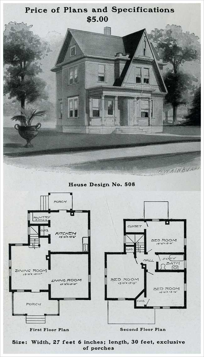 Radford 1903 Queen Anne With Gothic Forward Facing Gable House Plans With Pictures Victorian House Plans Cottage Floor Plans
