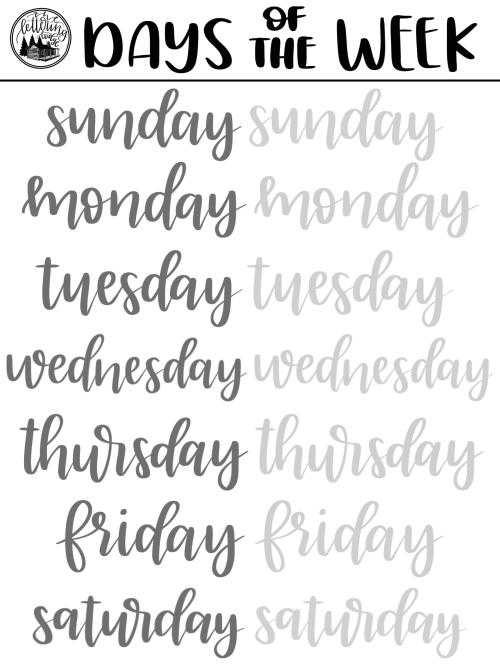 Brush Lettering Freebie Days Of The Week Practice Sheet Lettering Guide Lettering Practice Hand Lettering Worksheet