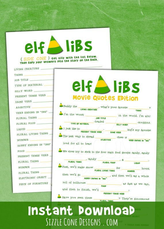 Elf Movie Quote Mad Lib - Holiday Party Game [Christmas Download ...