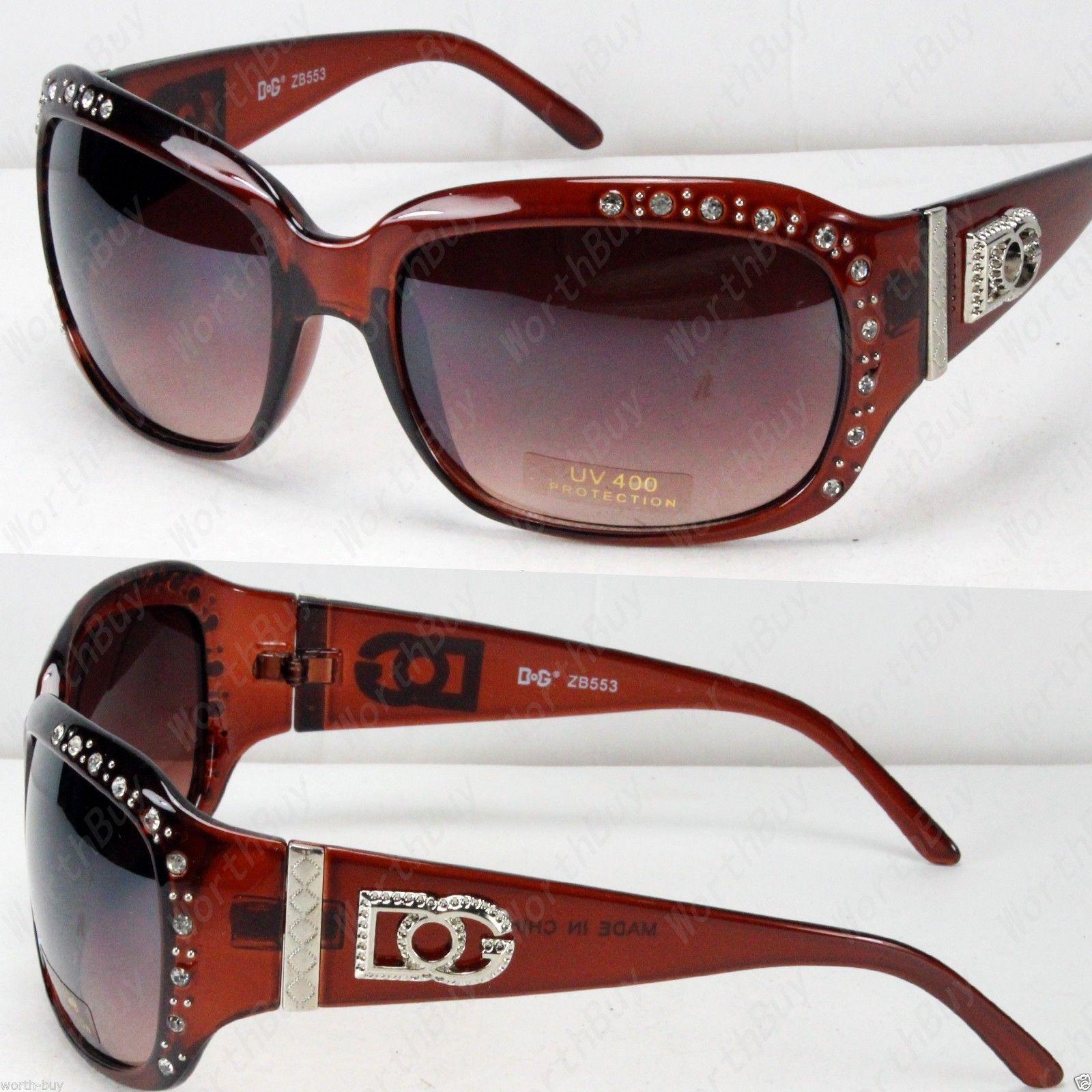 7696fc2ceb5 New Dg Designer Womens Rhinestones Sunglasses Shade Fashion Brown