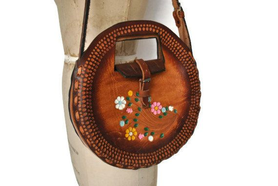 Tooled Leather Bag Purse / 1960s hippie / Unique by badbabyvintage