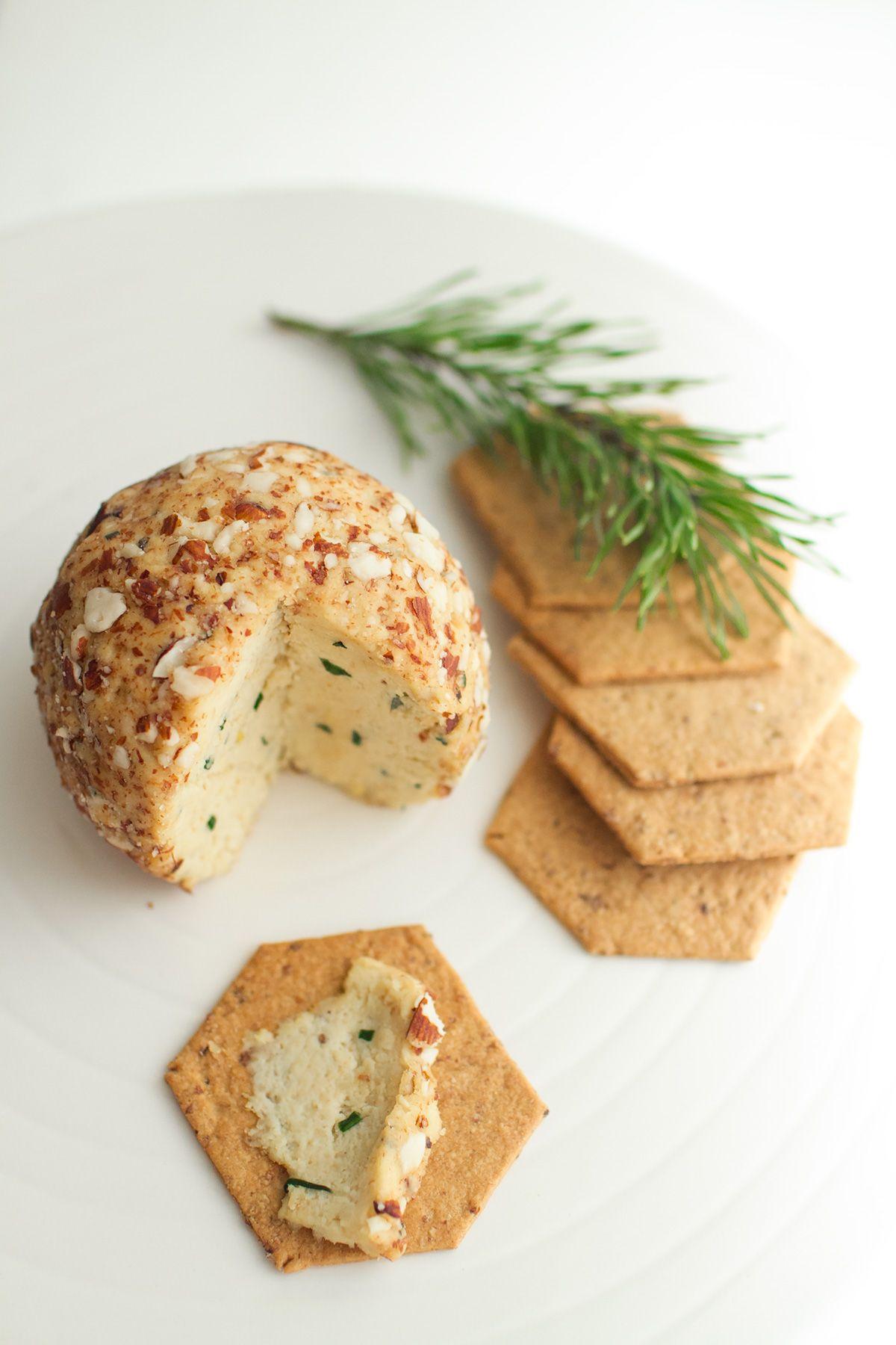 vegan christmas soft cheese - tofu, almonds, pine nuts and herbs.