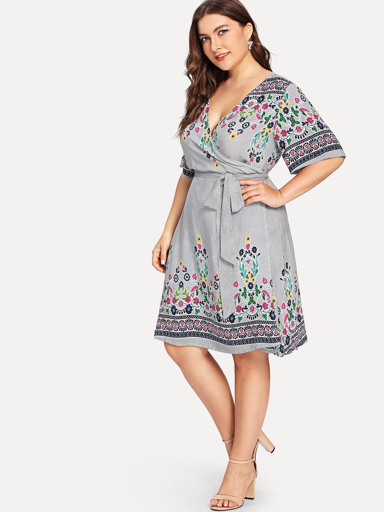 07df8a47717d Floral   Striped Wrap Dress -SheIn(Sheinside)