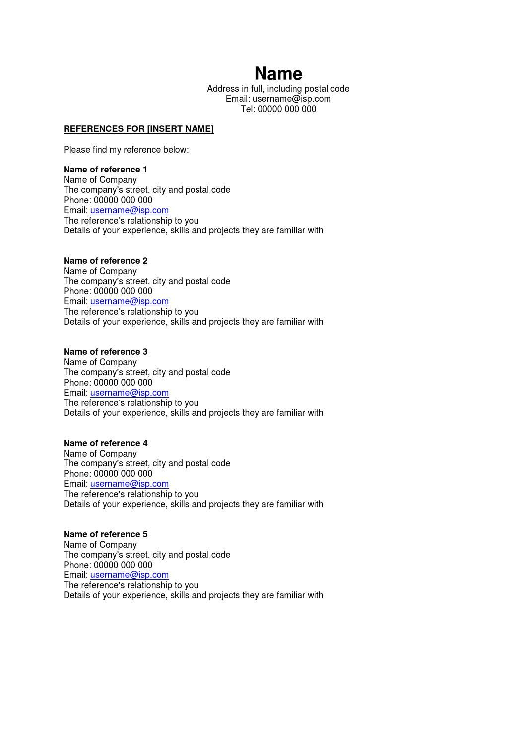 Job Reference sheet template Job images, Reference page