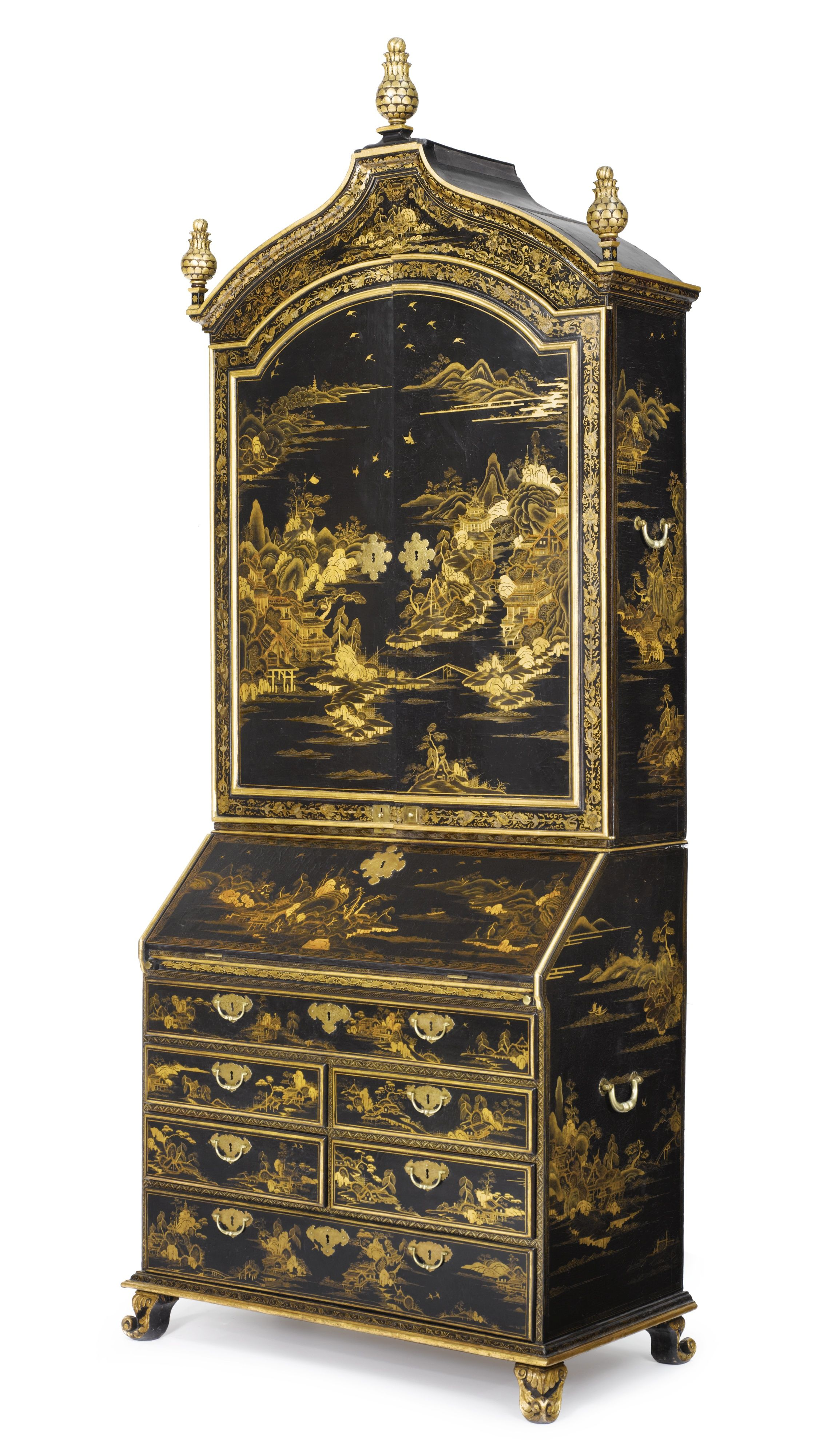 A fine chinese export parcel gilt black lacquer bureau bookcase cabinet circa 1735 muebles - Biombos chinos antiguos ...