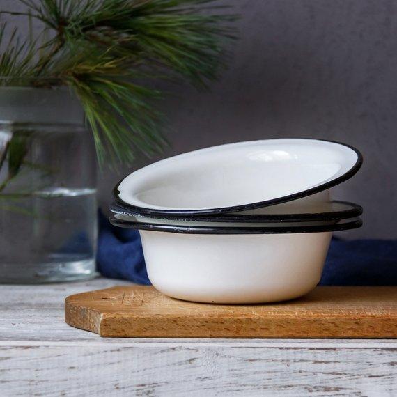 Vintage Enamel Bowls Set Of 3 Food Photography Props White