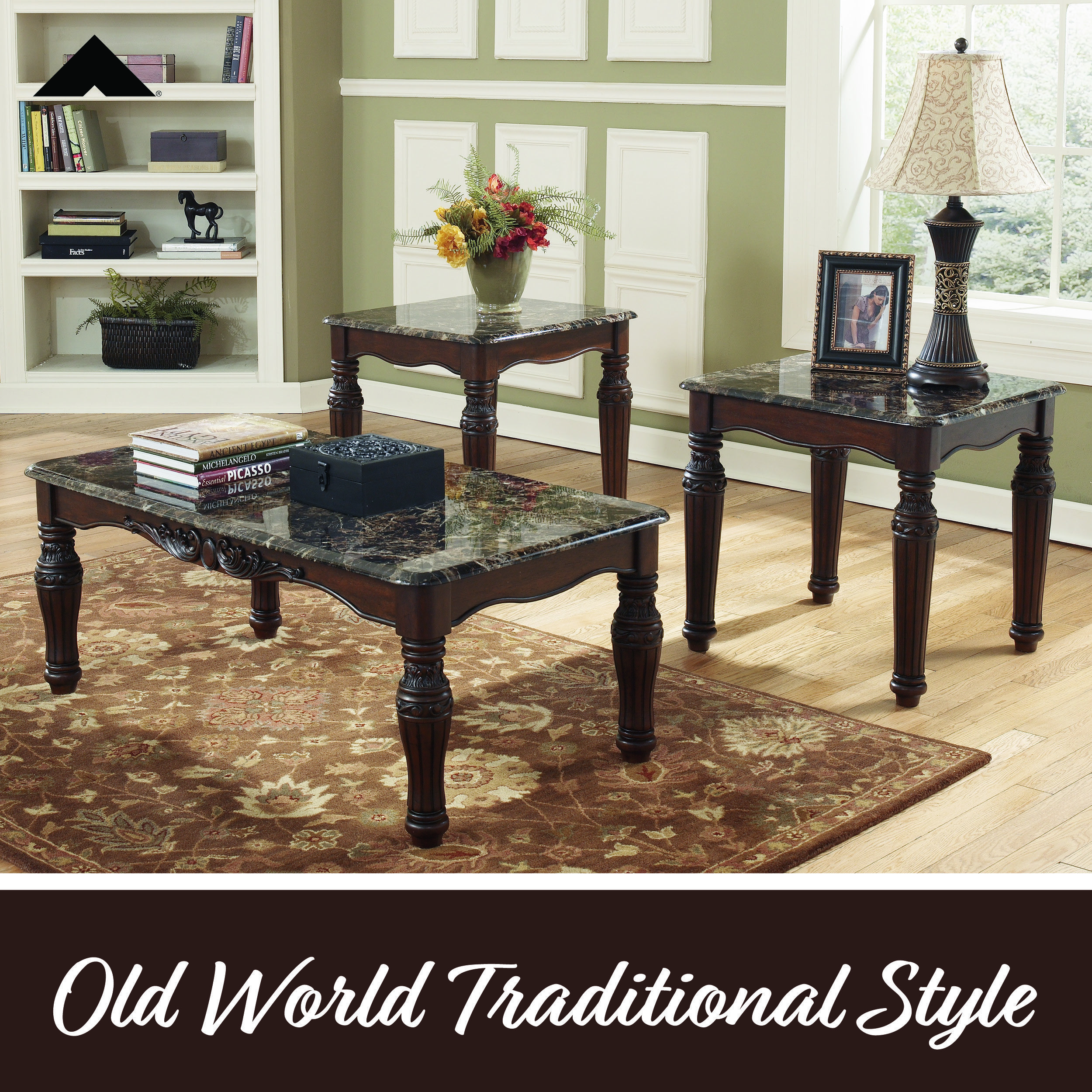 North Shore Dark Brown Tables By Ashley Furniture Ashleyfurniture Homedecor Livingroom Tables Traditiona Marble Coffee Table Set Coffee Table Furniture