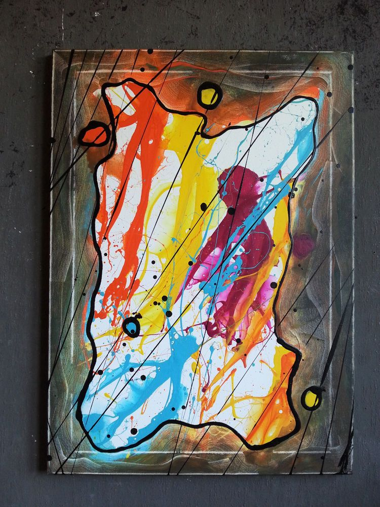 Gemälde Abstrakt Acryl Bilder Modern Bild Kunst Original Deko Wandbild
