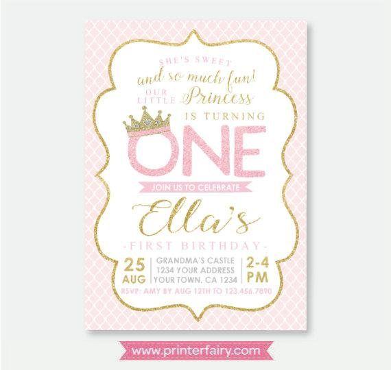 Princess 1st Birthday Invitation, EDITABLE Princess