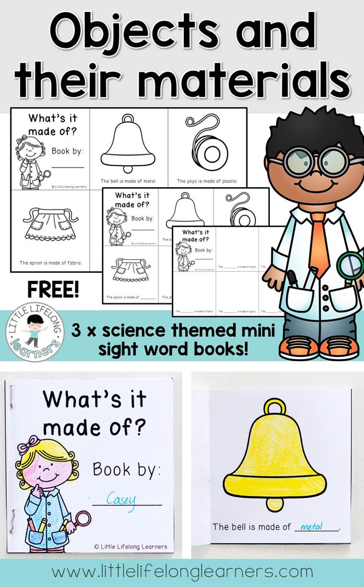 Objects and their Materials - A science sight word mini book - FREE    Kindergarten science [ 1183 x 735 Pixel ]