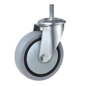 Ruedas giratorias grises  Materiales de las ruedas: núcleo de PP con la rueda de TPR  Tamaño: 80 x 32 mm; 100 x 34 mm; 125 x 37 mm; 160 x 40 mm; 200 x 50 mm  Capacidad de carga: 70kg-150kg  Tipo de rodamiento: rodamiento de rodillos  Tipo Opcional: Rígido, placa giratoria, roscado, orificio del tornillo