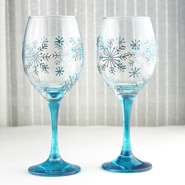 Hand Painted Wine Glasses, Snowflake design, Wedding Glasses, Christmas Glasses