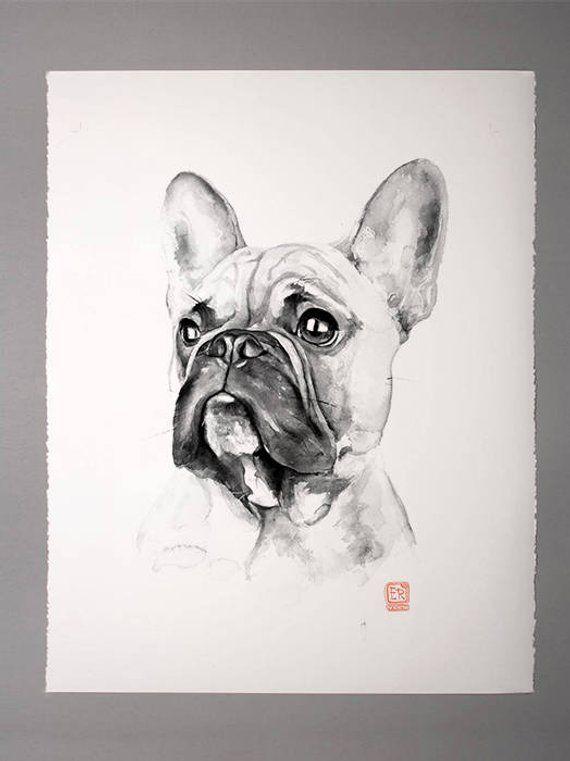 Black And White Dog Poster Modern Wall Art French Bulldog