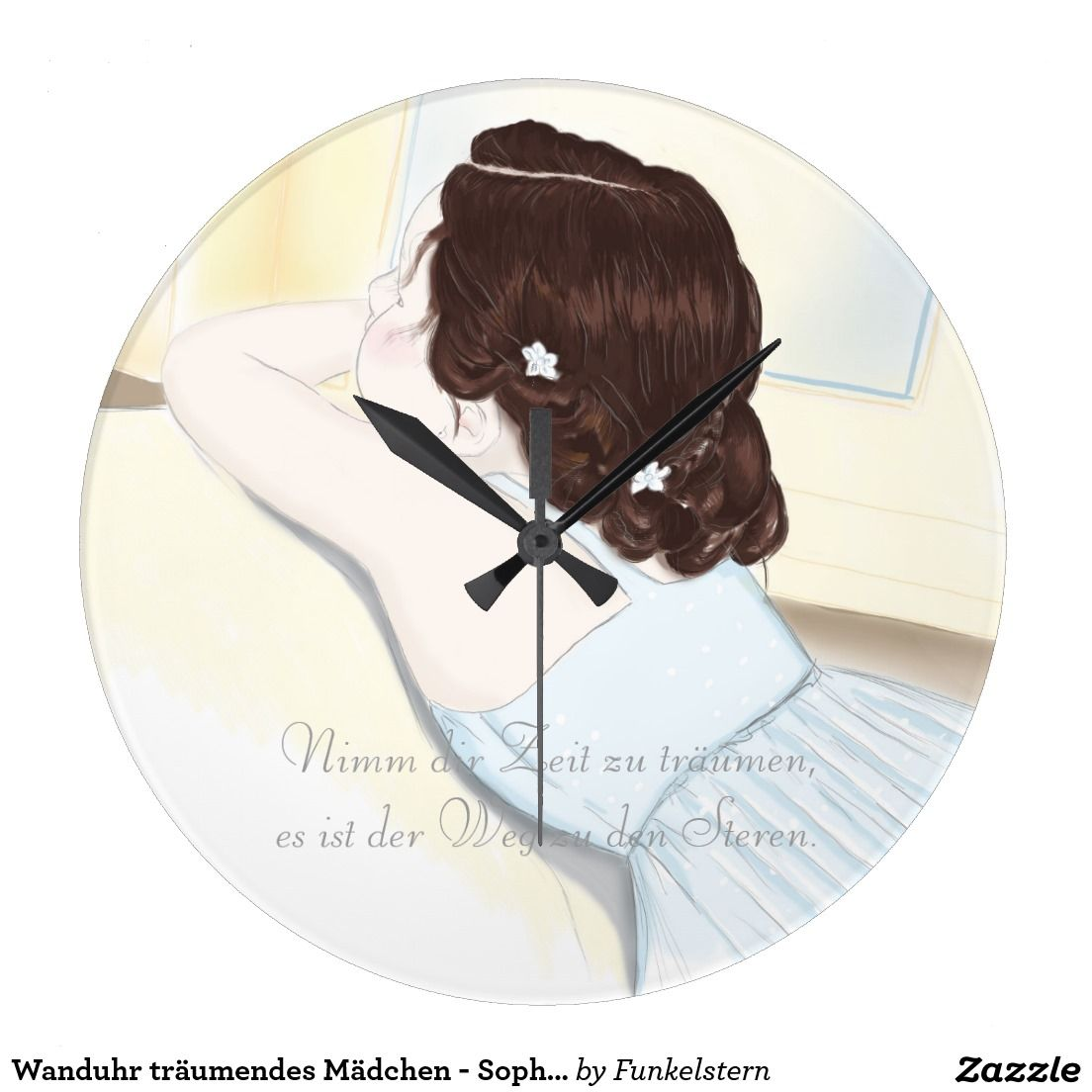 Wanduhr träumendes Mädchen - Sophia