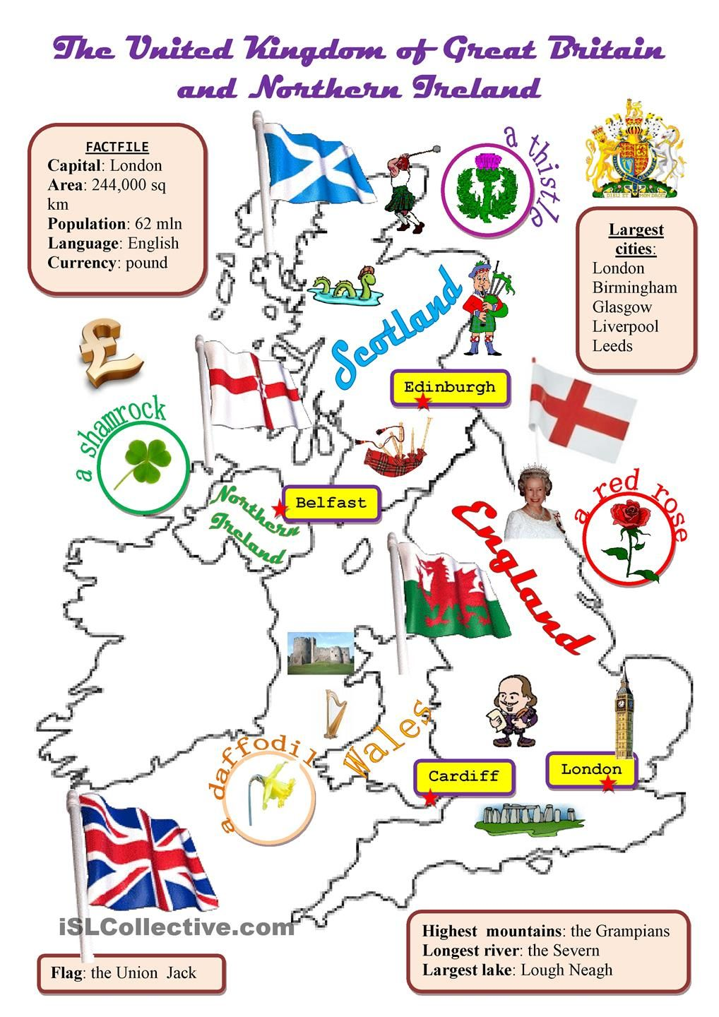 The Uk Map Con Imagenes Actividades De Ingles Clase De Ingles