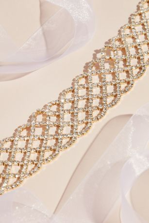 Rhinestone Lattice Pattern Belt Style Blt9243 Silver