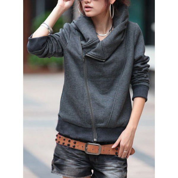 Stylish Turn-Down Neck Long Sleeve Zippered Solid Color Women's ...