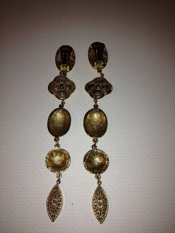 Extra Long Ornately Designed Gold tone Clip On by vintagerepublic1, $22.00