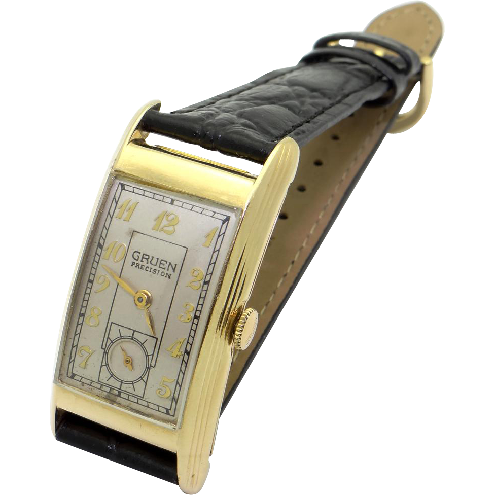 retro era mens gruen curvex precision 14k yellow gold manual wind 17 jewel watch found at www. Black Bedroom Furniture Sets. Home Design Ideas