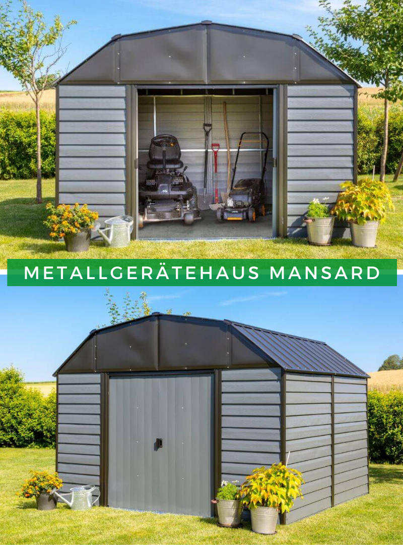 Metallgeratehaus 10x9 Mansard Dach Gartenhaus Metall Metallgeratehaus Aufbewahrung Garten