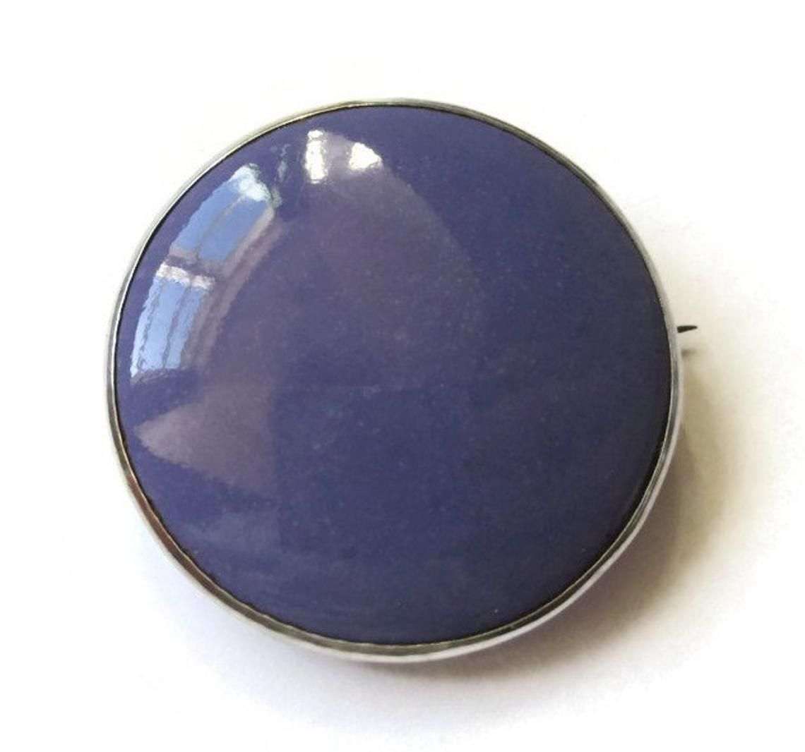 lilac Silver ruskin pottery brooch