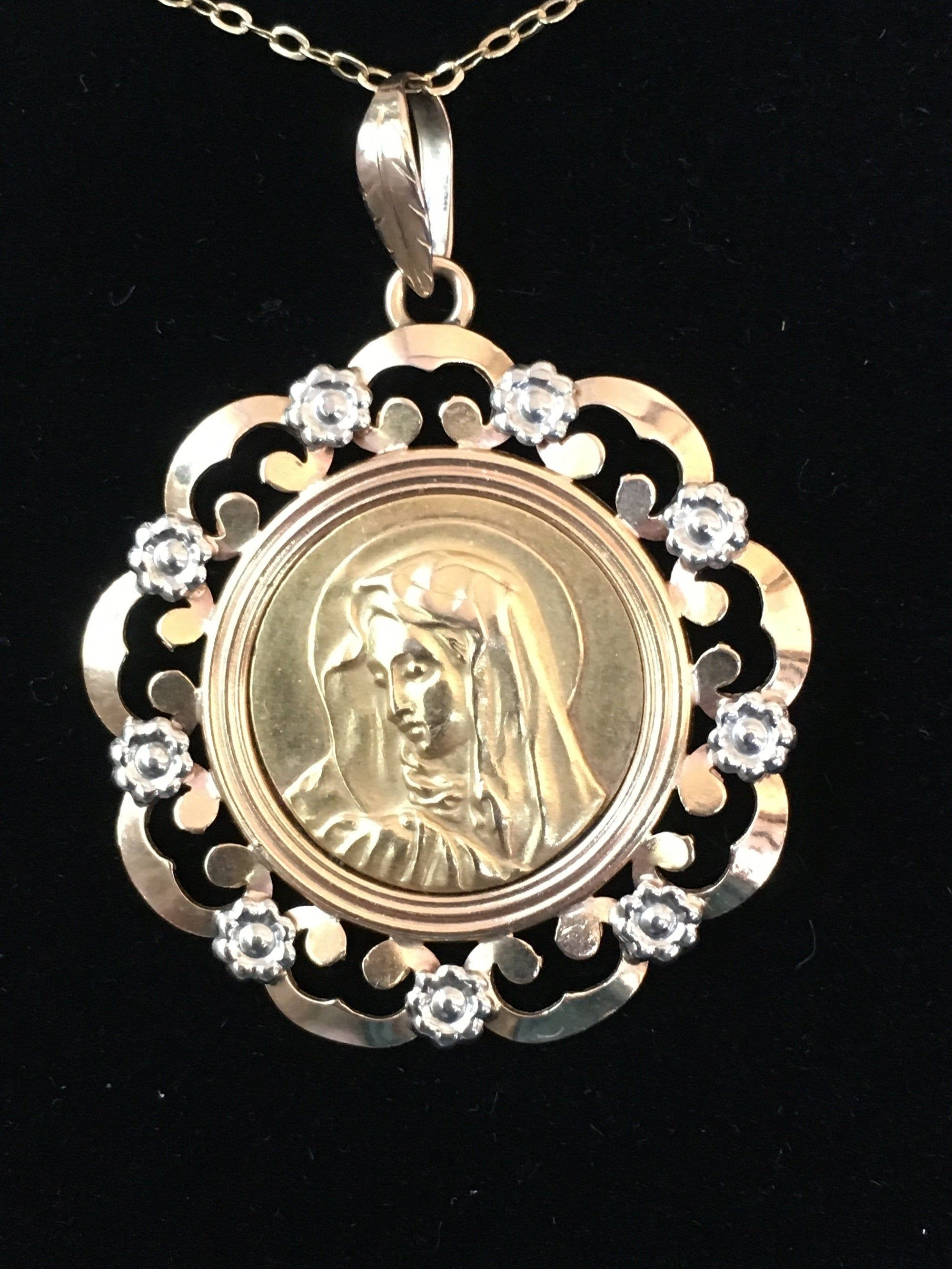 VTG Small Gold Tone or Silver Tone Virgin Mary Charm//Medal//Pendant O Mary...
