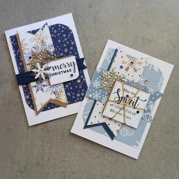 Christmas Snowflakes Designer Card Paper A5 Pack Gold Blue White Car Shopaperartz Blue Christmas Cards Christmas Cards Handmade Xmas Cards