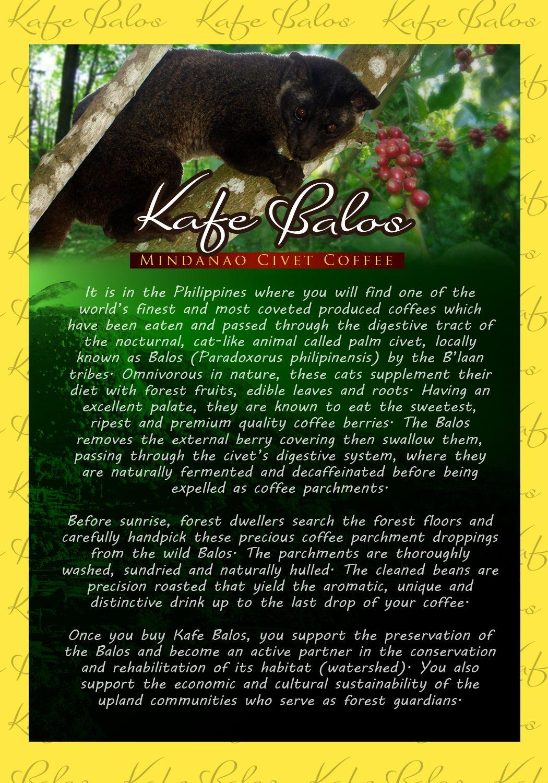 Kafe Balos Mindanao civet coffee, the worlds most